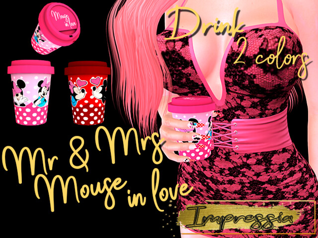 *Impressia* Drink Mr & Mrs Mouse in love