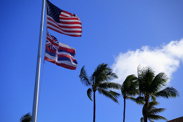 Amercan Flag and State Flag of Hawaii
