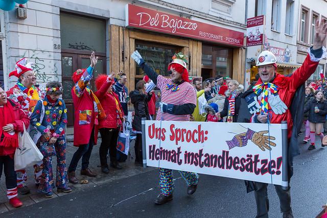 Fußgruppe Bauarbeiter-Clowns mit Motto