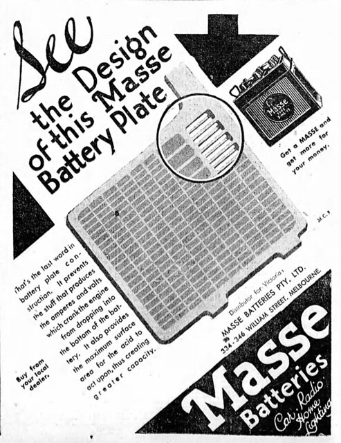 1932 advertisement for Masse Batteries