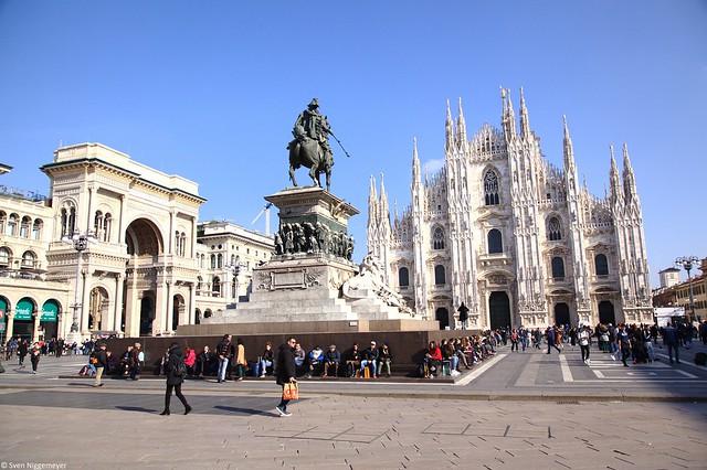 Statua di Vittorio Emanuele II a cavallo und der Mailänder Dom am 19.02.19
