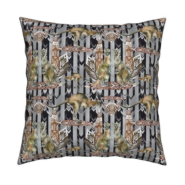 KANGAROO ON BLACK AND GREY CHEVRONS ARROWS CHEVRONS cushion by floweryhat