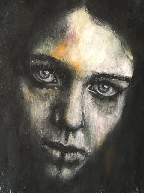 Soft pastel, conte and compressed charcoal portrait adapted from one of Flickr member Anya Roz' powerful portraits.