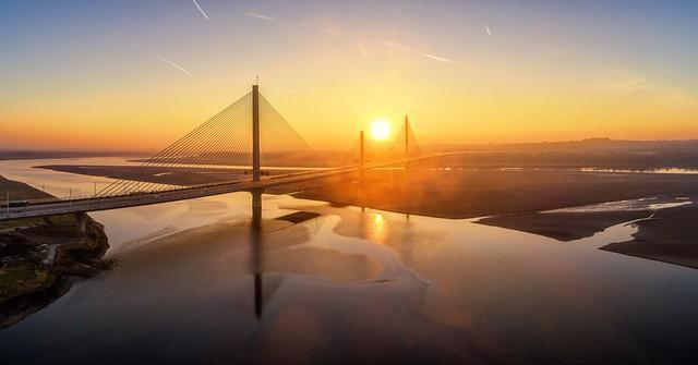 Winter sunrise at Mersey Gateway