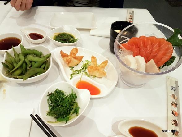 Edamame, Seaweed Salad, Cheese Wontons, Sashimi