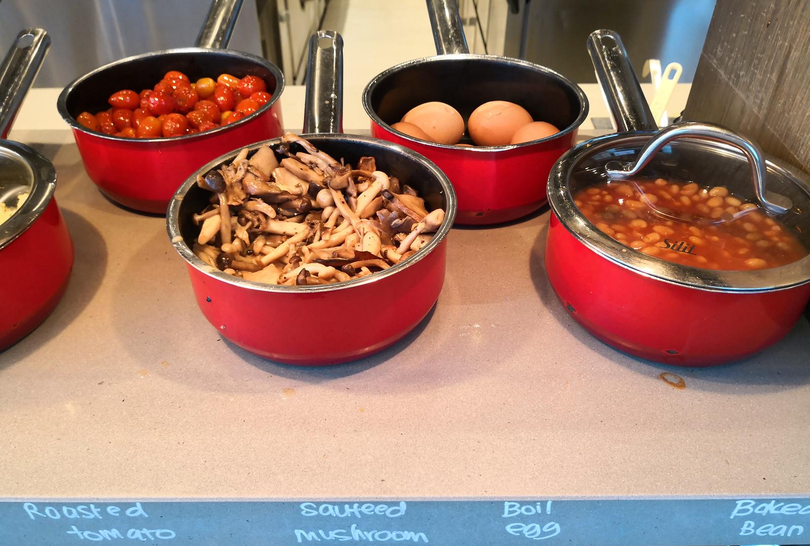 Mushroom, egg and beans