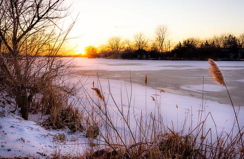 2019 canada february ontario rivercanard snow winter ice water river frozen sunset