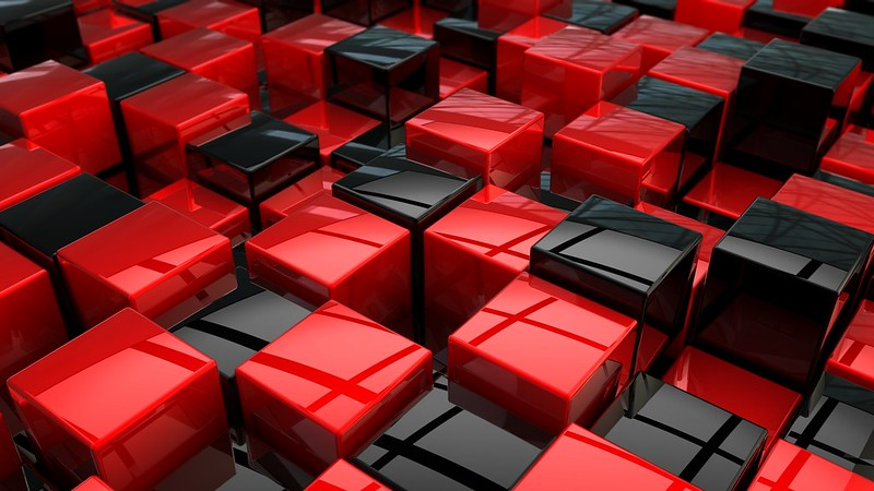 Обои кубы, красный, черный, пространство картинки на рабочий стол, фото скачать бесплатно