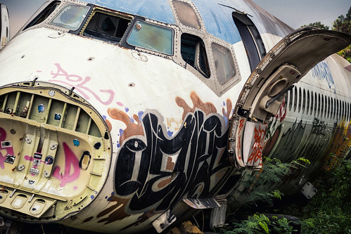 mcdonnelldouglas md82 jet airplane airliner fuselage nose door graffiti windows windshield tilted airplanegraveyard bangkokthailand ramkhamhaengdistrict southeastasia aviation aircraft retired abandoned dereliction deserted dissected urbanexploration deterioration wasteland scrapped stripped dismantled wreckage surreal flight plane travel transportation thai siam asian metal bare insulation jagged rust rusty junked restingplace hull forsaken broken brokenness outdoors landscape banked leaning weeds flora decals stickers spraypaint vandalism scribbling tagging grounded urbex nikond7500 sigma18300 photoshopbyfehlfarben thanksbinexo