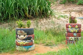 Flower Planters made of Tires with Superhero Painting in Mui Ne, Vietnam | by wuestenigel