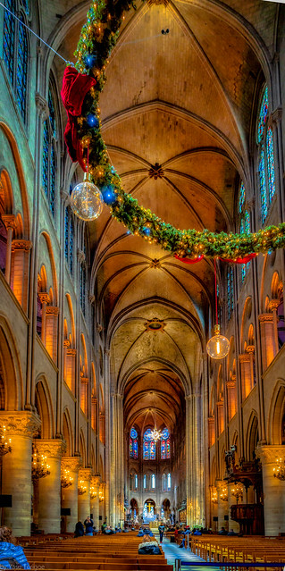 View of the High Interior of the Notre-Dame Cathedral with Hanging Christmas Decorations from the Back, near the Entrance, Paris, France-45a