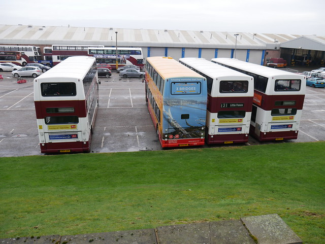 Lothian Dennis Trident Plaxton Presidents SN04AAK 665, SK52OHL, formerly XIL1483, 650, SN53AVU 629 and SN53AVZ 633 await disposal at Marine Garage on 7 February 2019.