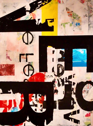 "velo - oil, acrylic and collage on wood panel - 30""x40"" 