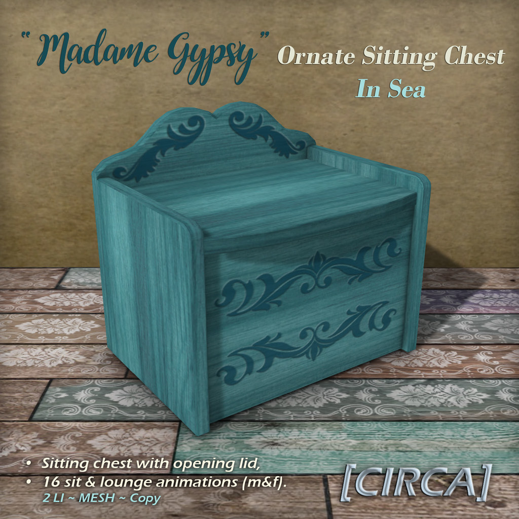 "@ The Boardwalk | [CIRCA] – ""Madame Gypsy"" – Ornate Sitting Chest – In Sea"