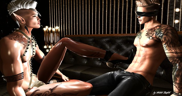what a man what a man.....Credits: ::GB::Latex harness pants / GOLD