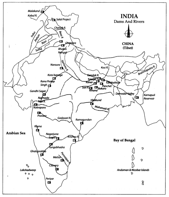 Class 10 Geography Map Work Chapter 3 Water Resources 1