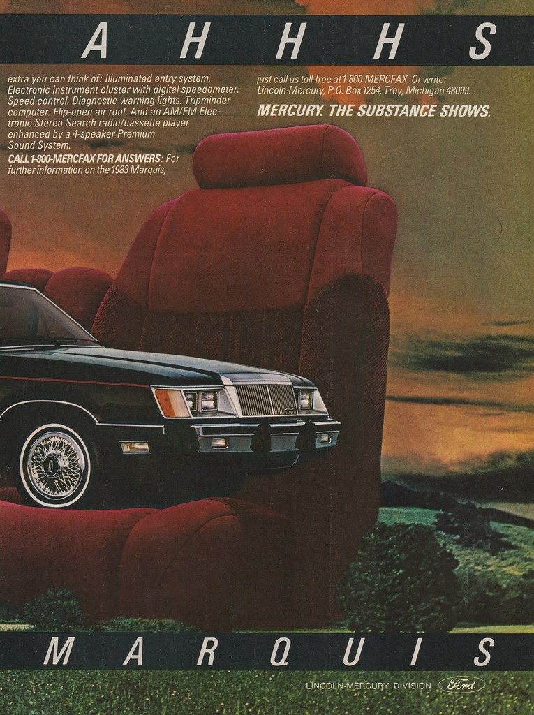 1983 Mercury Marquis Ad - USA | Covers the 1983 Mercury Marq