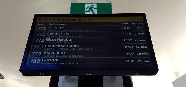 Bus departures board, Frankston station exit