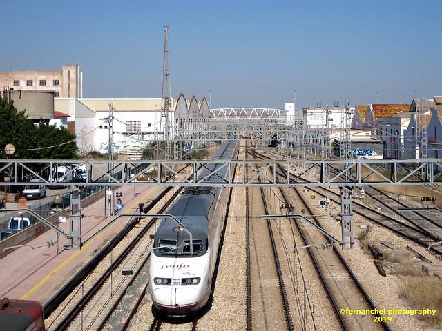 Tren de Alta Velocidad (AVE) a su paso por SAGUNTO (Valencia)