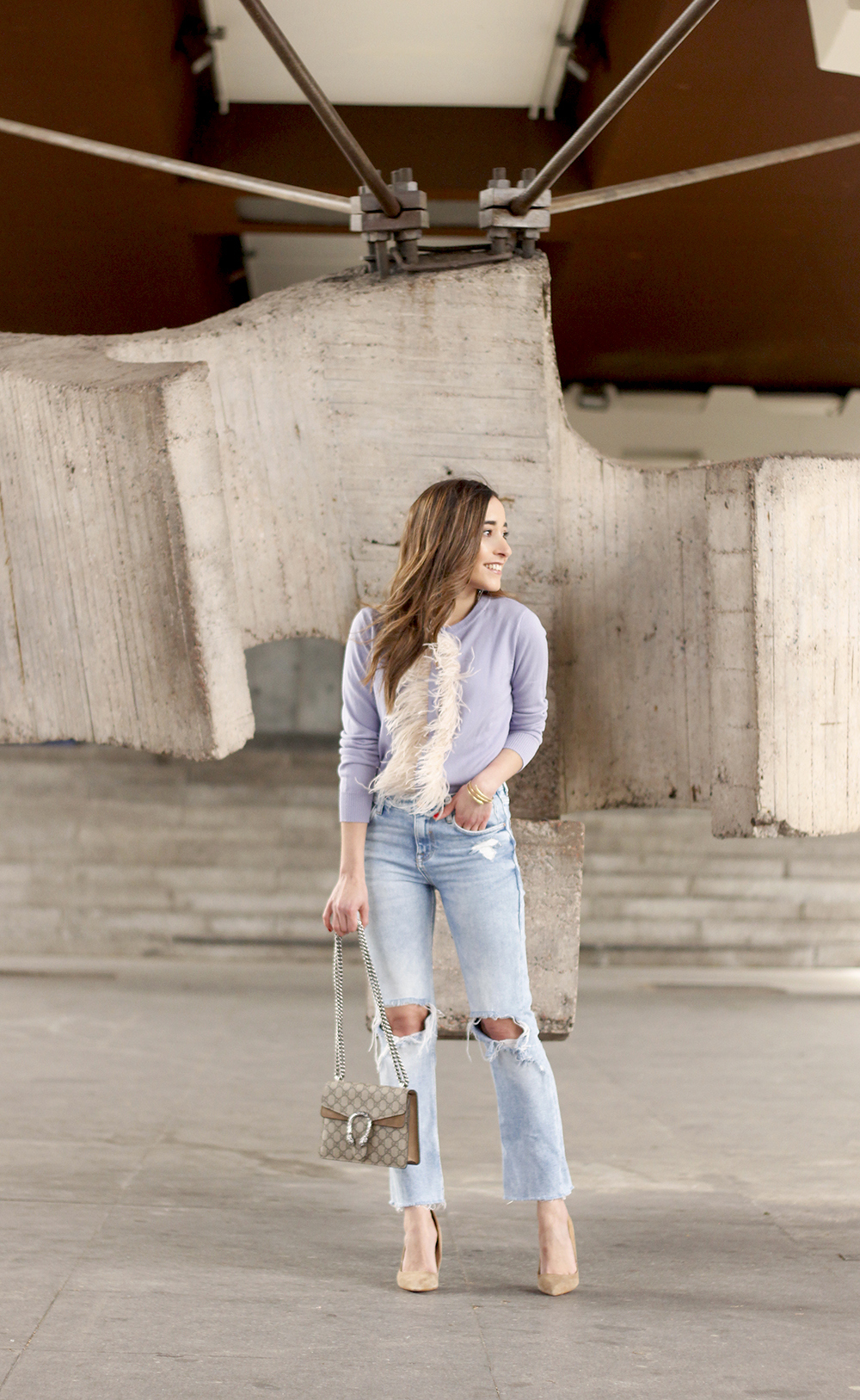 lavender sweater ripped jeans gucci bag nude heels casual street style casual outfit 20196