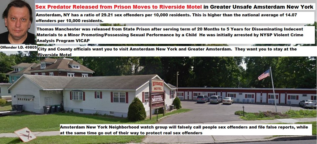 Sex Predator Released from Prison Moves to Riverside Motel in Greater Unsafe Amsterdam New York