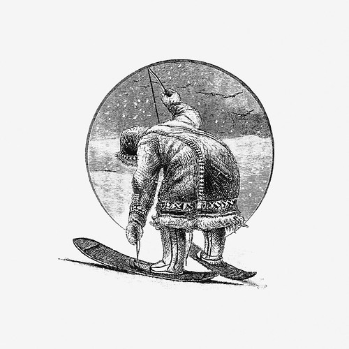Eskimo skiing | by Free Public Domain Illustrations by rawpixel