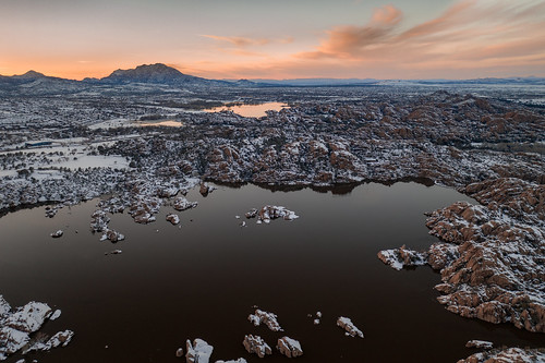 arizona clouds dji granite granitemountain lake prescott snow sunset water watsonlake willowlake winter winterstorm dells drone landscape reflection