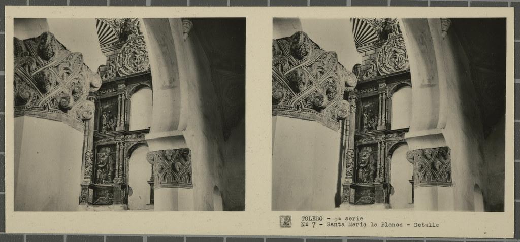 Detalle de un capitel de la sinagoga de Santa María la Blanca. Colección de fotografía estereoscópica Rellev © Ajuntament de Girona / Col·lecció Museu del Cinema - Tomàs Mallol