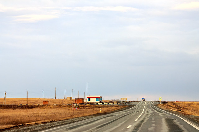 Road in Siberian plains