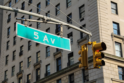 New York 5th Avenue traffic sign seen from the Central Park | by mr-mojo-risin