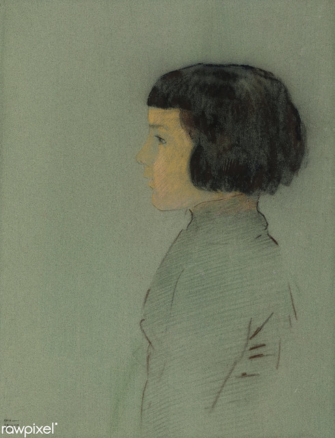 Young Woman in Profile by Odilon Redon