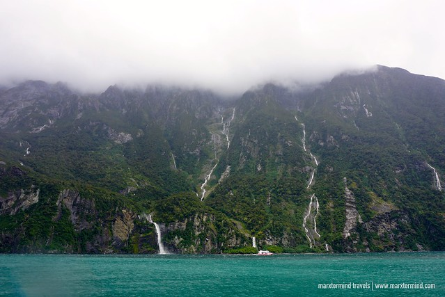 Waterfalls in Milford Sound New Zealand