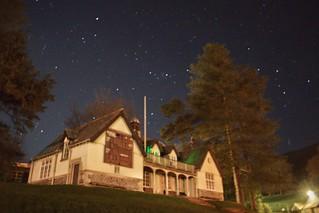 Sedbergh cricket pavilion by night