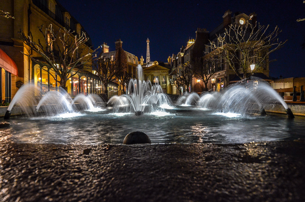 France Pavilion Epcot night fountain