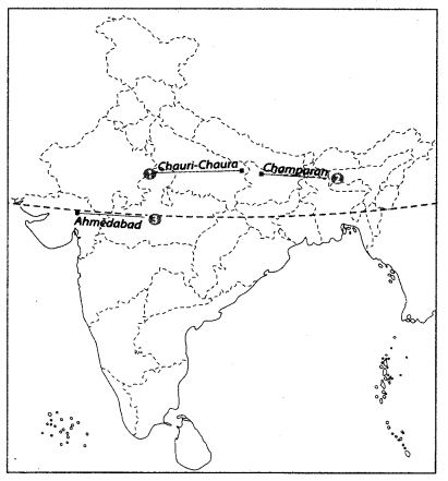 Class 10 History Map Work Chapter 3 Nationalism in India A3