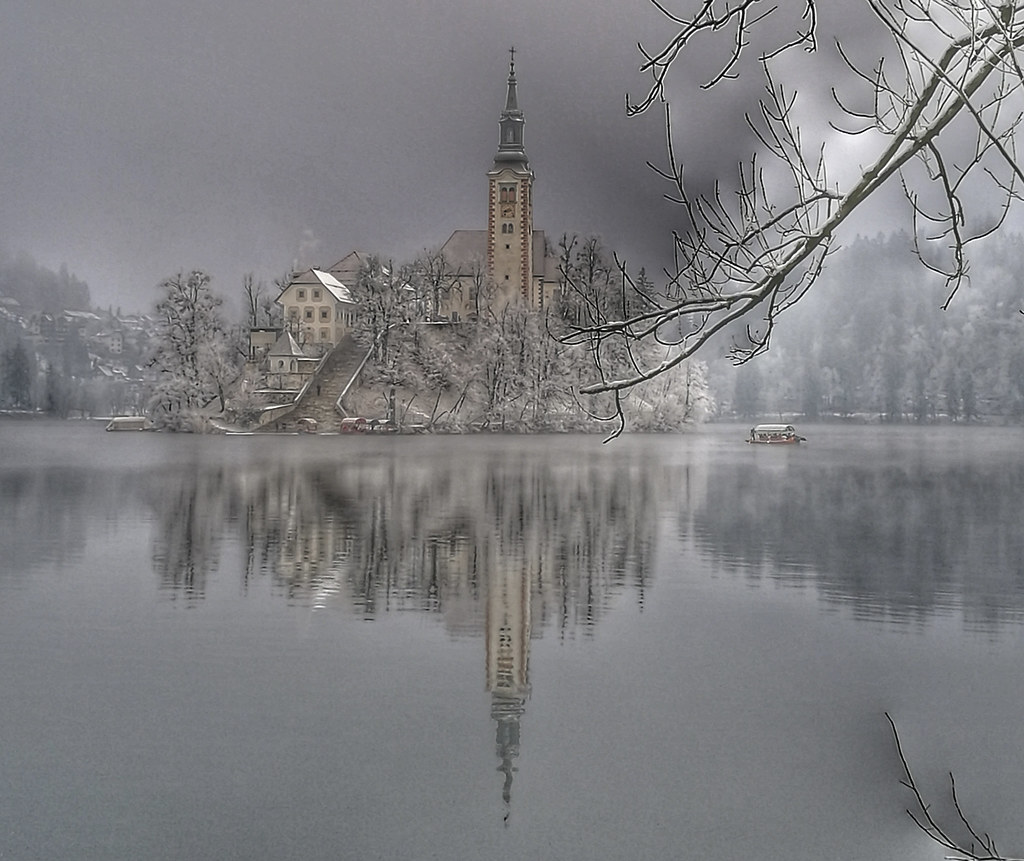 Lake Bled In Winter At Sunrise Magical Lake Bled Slovenia