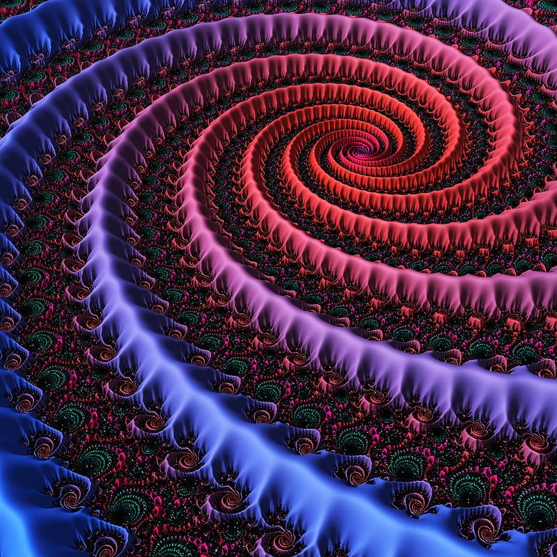 Обои фрактал, спираль, закрученный, узоры, разноцветный картинки на рабочий стол, фото скачать бесплатно