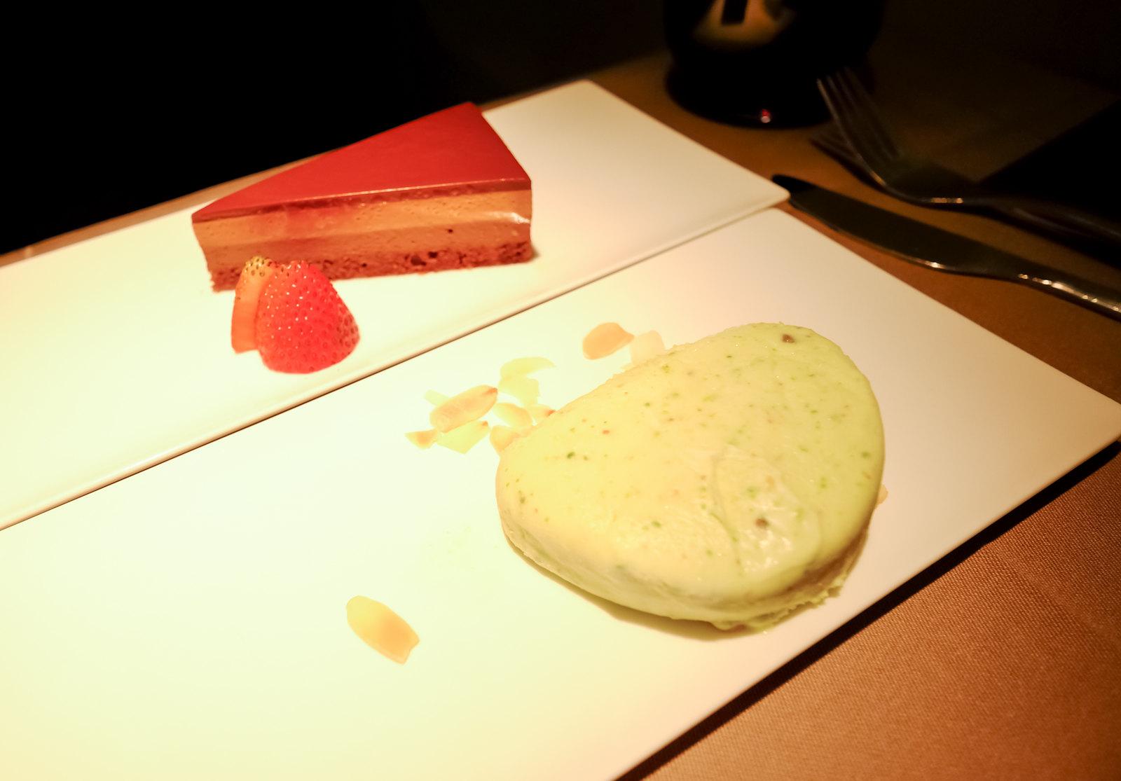 Dessert of ice cream and chocolate parfe