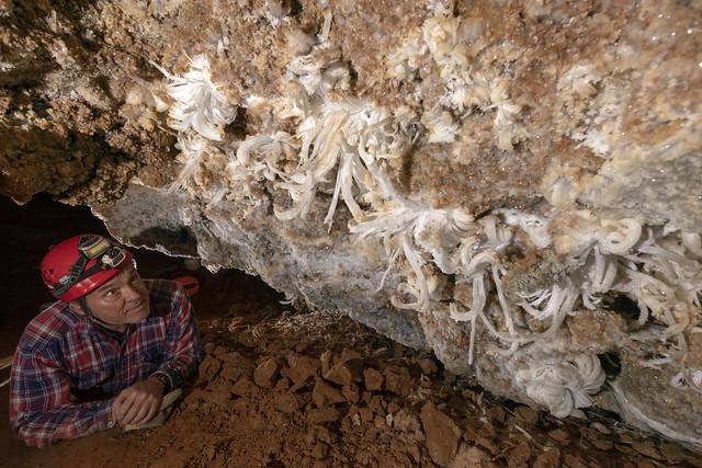 Jim Hershung, gypsum flowers, Cumberland Caverns, Warren County, Tennessee