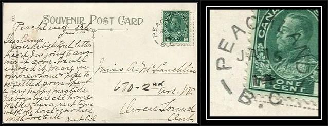 British Columbia / B.C. Postal History - 15 January 1914 - PEACHLAND, B.C. (split ring / broken circle cancel / postmark) to Owen Sound, Ontario