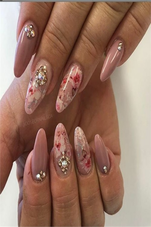 33 Amazing Flowers Nail Art Designs for Spring #nail_art_designs #trendy_nails #spring_nails #flower_nails