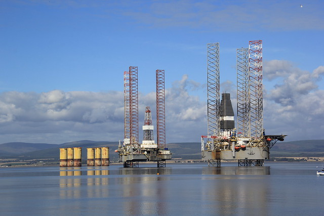 Rigs in the Bay, Cromarty, Scotland.