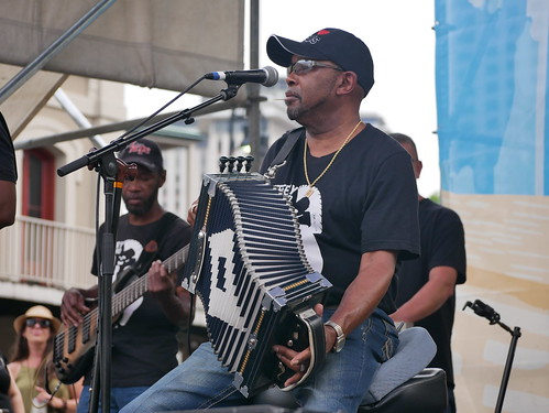 Jeffery Broussard & the Creole Cowboys on Day 2 of French Quarter Fest - 4.12.19. Photo by Louis Crispino.