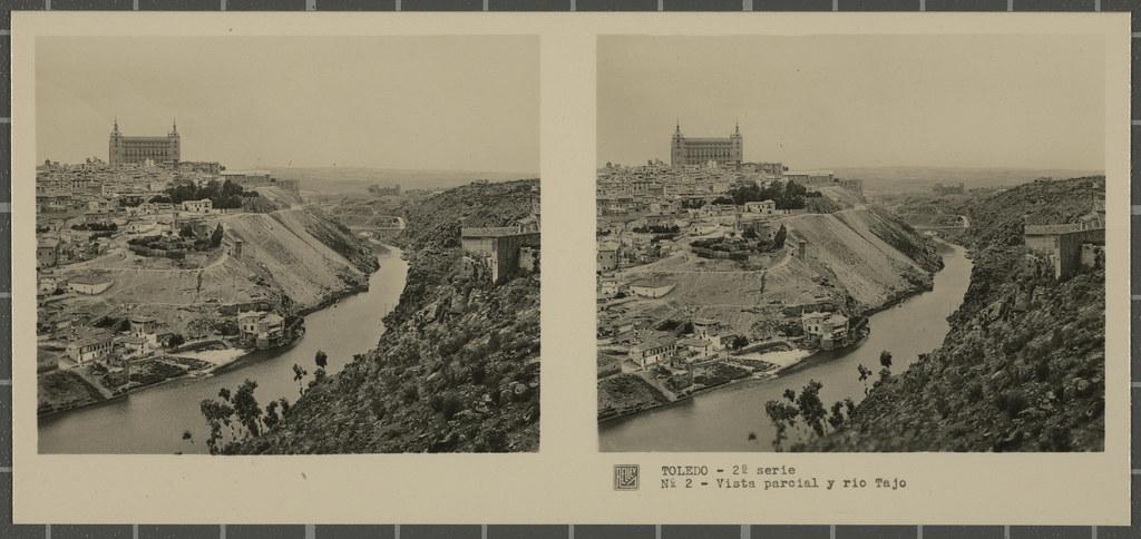 Vista de Toledo y el río Tajo desde el Valle. Colección de fotografía estereoscópica Rellev © Ajuntament de Girona / Col·lecció Museu del Cinema - Tomàs Mallol