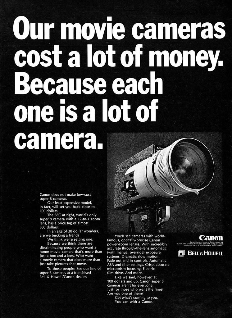 Canon 88C super 8 movie camera advertisement  | 1969/Septemb