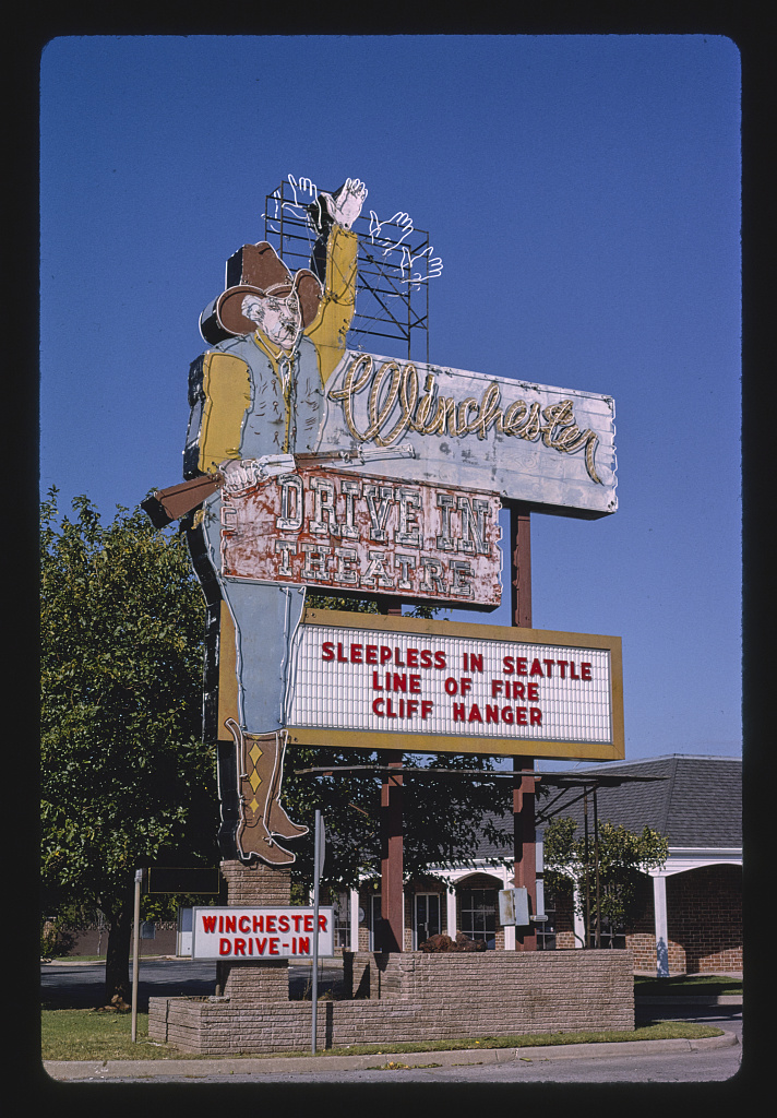 Winchester Drive-In Theater sign, S. Western Avenue, Oklahoma City, Oklahoma (LOC)
