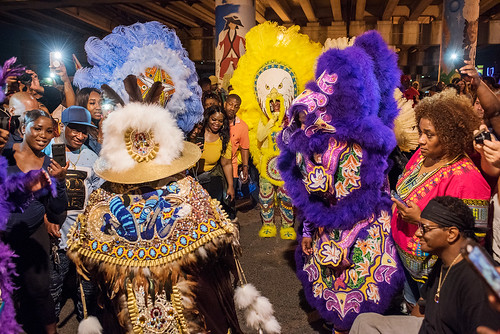 06 - Creole Wild West Queen Rukia meets Creole Osceolas Flag Queen Kelly (yellow) during Saint Joseph's Night in New Orleans on March 19, 2018. photo by Ryan Hodgson-Rigsbee RHRphoto.com