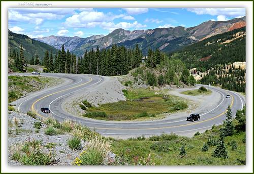 colorado coloradorockies scurve road highway trees nature picmonkey sanjuanmountains sanjuanskyway milliondollarhighway redmountainpass
