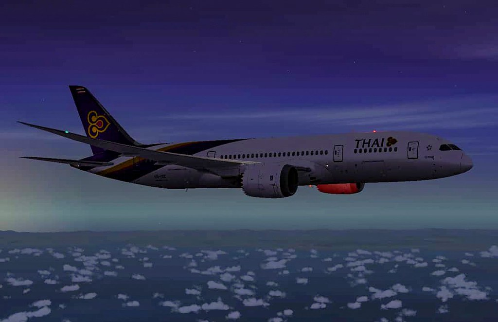 Thai Airways Boeing 787-9 cruising somewhere over Earth  G