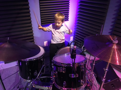 Henry Booher, age 3, on drums, Day 4 of Spring Membership Drive - 3.16.18. Photo by Carrie Booher.